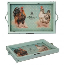 Поднос La poule бирюзовый состаренный 28х42х3,5 см