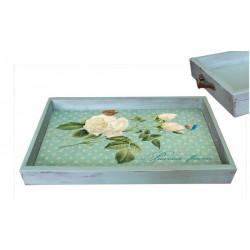 Поднос Белая роза бирюзовый состаренный 28х42х3,5 см
