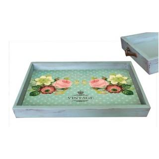Поднос Vintage бирюзовый состаренный 32х47х3,5 см