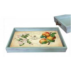 Поднос Яблоня бирюзовый состаренный 32х47х3,5 см